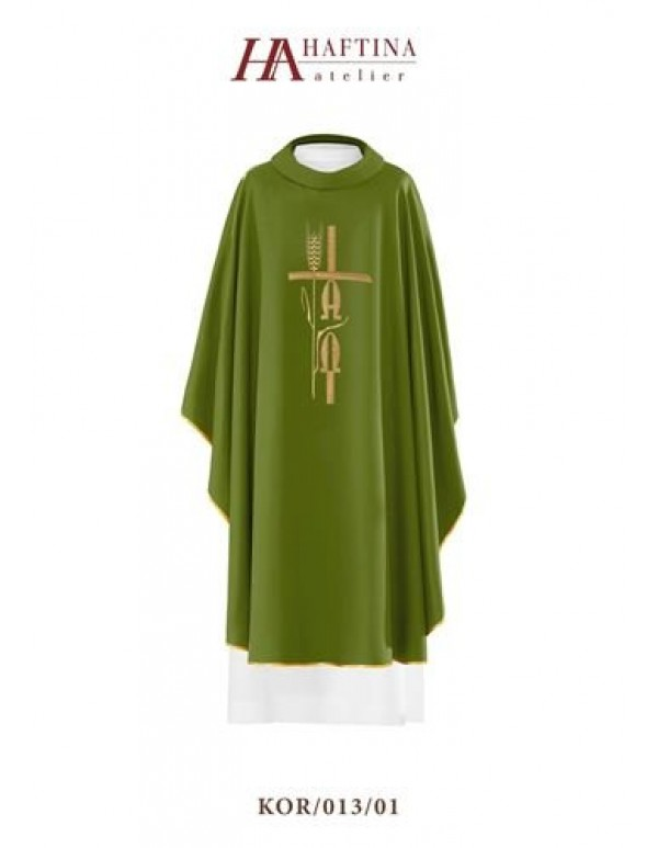 Haftina Polish Chasuble - All colours - Alpha & Omega Cross, Wheat Design