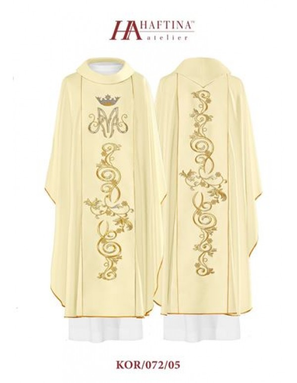 Haftina Polish Chasuble - All colours -  M design with scrolls - white & cream