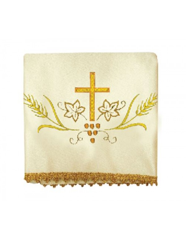 Chalice Veil Set of 4, includes all  the Liturgical colours - Gold cross with vines & Wheat