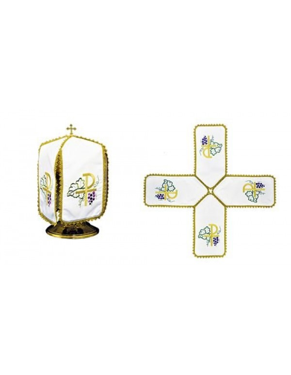 Ciborium Veil - Gold PX with Vines & Grapes - Cross Shape