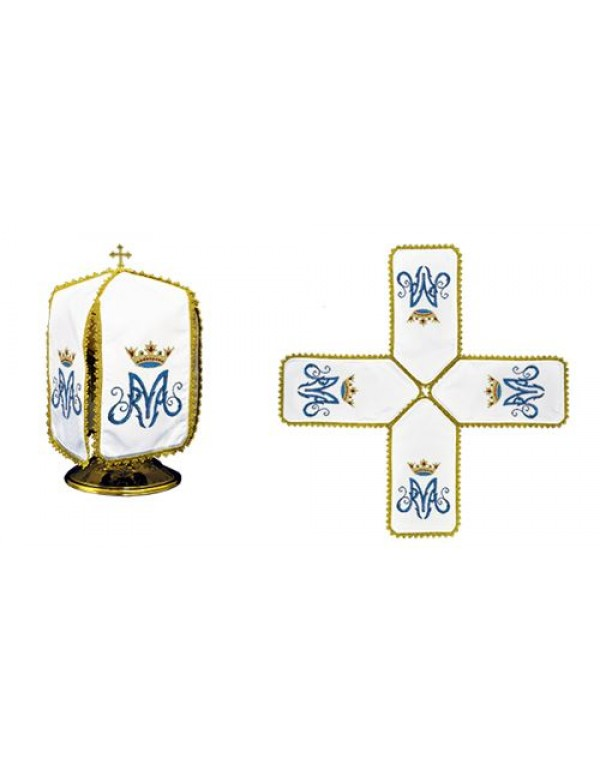 Ciborium Veil - Blue M with Gold Crown - Cross Shape