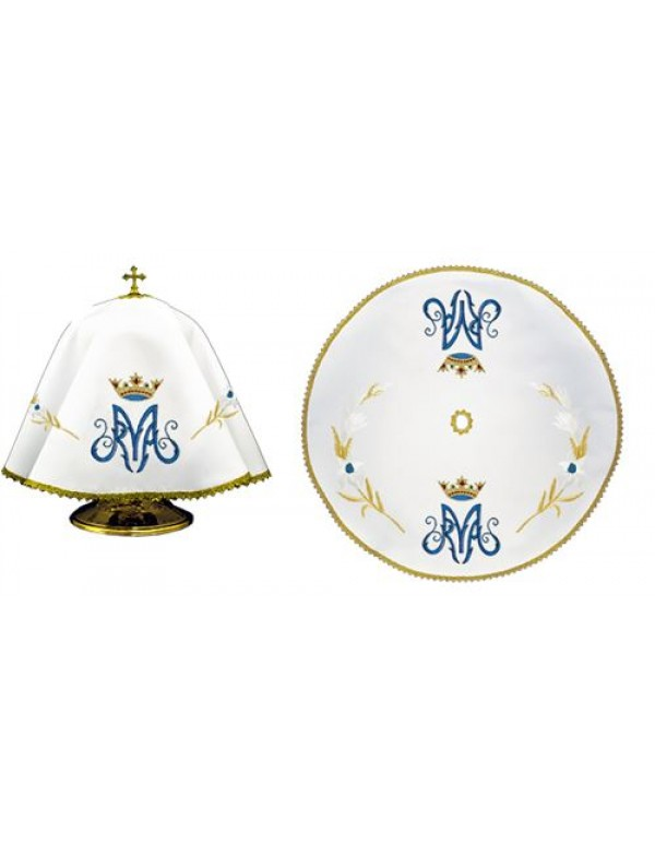Ciborium Veil - Blue M with Gold Crown - Round Shape