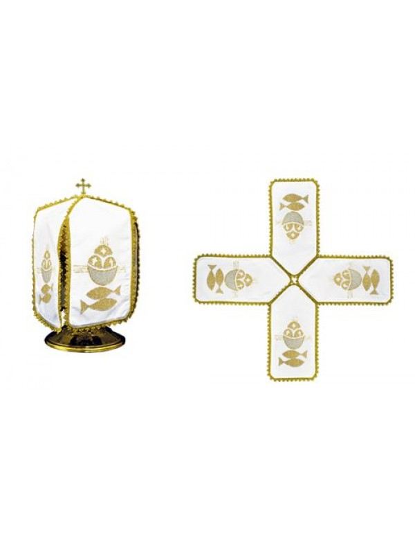 Ciborium Veil - Gold Cross & Fish - Cross Shape