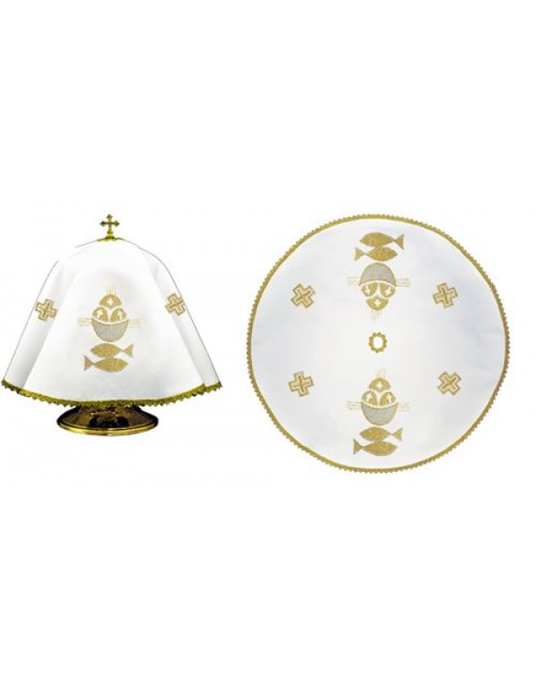 Ciborium Veil - Gold Cross & Fish - Round Shape