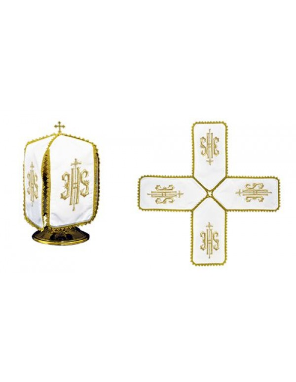 Ciborium Veil - Gold IHS with small crosses - Cross Shape