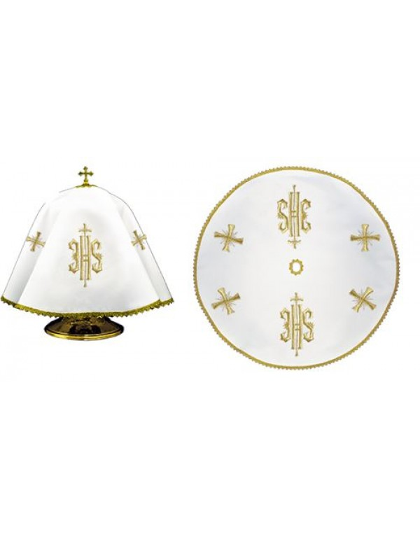 Ciborium Veil - Gold IHS with small crosses - Round Shape