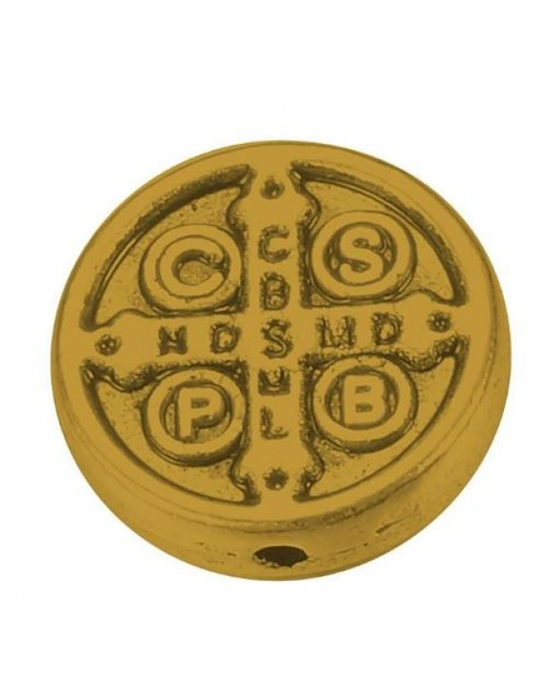 9mm Golden Metal Bead - St Benedict / St Anthony