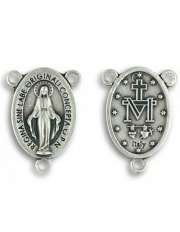 15mm Mini Miraculous Medal - silver center piece