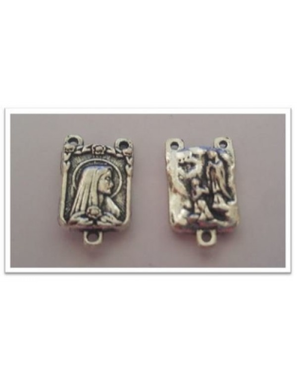 17mm Rectangular Madonna / Fatima silver Center Piece