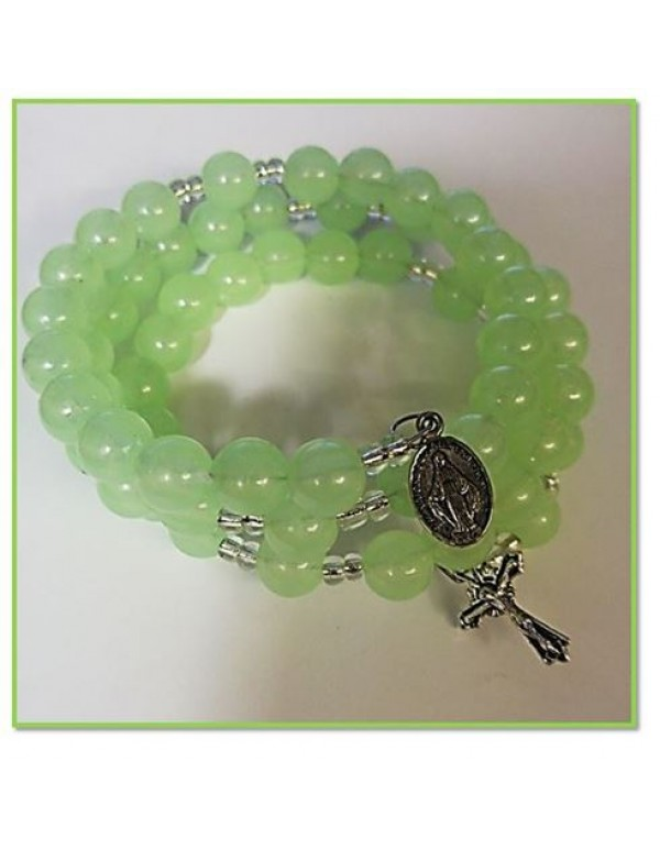 10mm Glow in the Dark 5 decade Rosary Bracelet