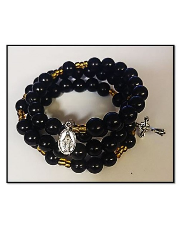10mm Black Matt 5 decade Rosary Bracelet