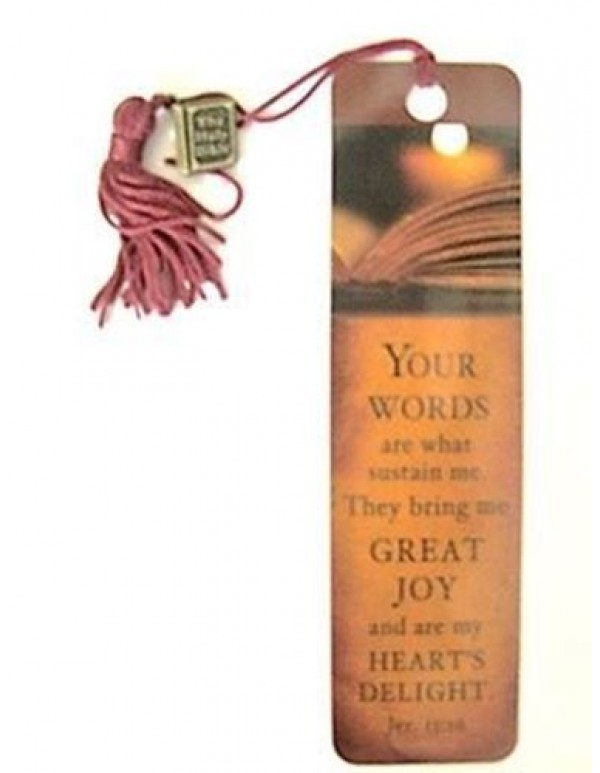 Charm bookmark - Your Words are what sustain me. Jer. 15:16