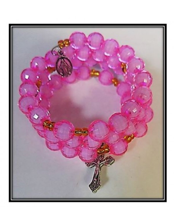 8mm facted Pink Window 5 decade Rosary Bracelet
