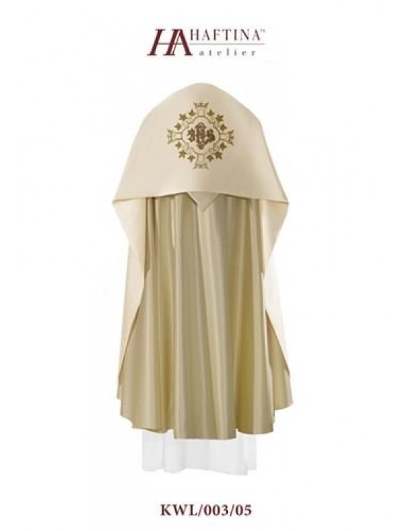 Humeral Veil - JHS in Ornate golden scroll on Cream