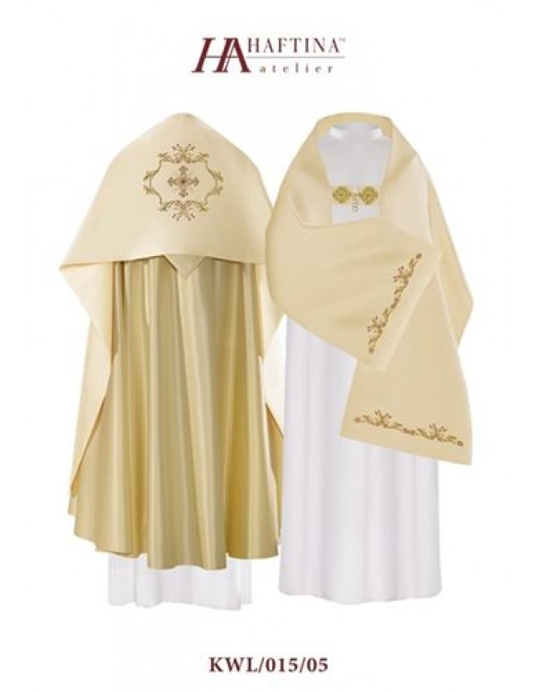 Humeral Veil - Cross in  Ornate golden scroll on Cream