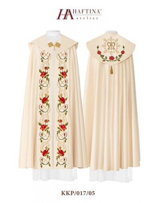 Cope/ Pluvial  - Gown in Cream with M design in gold with red Rose scrolls on panels