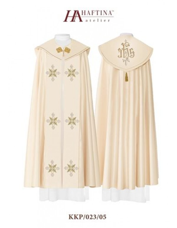 Cope/ Pluvial  - Gown in Cream with IHS at Back with Cross Scrolls