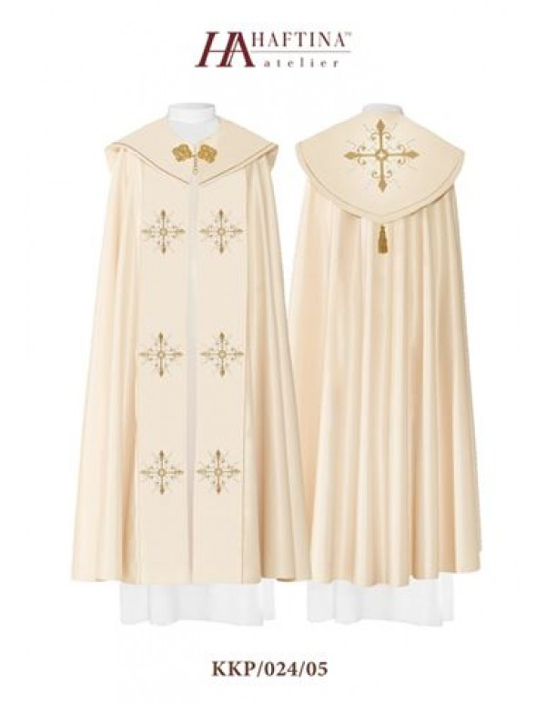 Cope/ Pluvial  - Gown in Cream with Golden Crosses