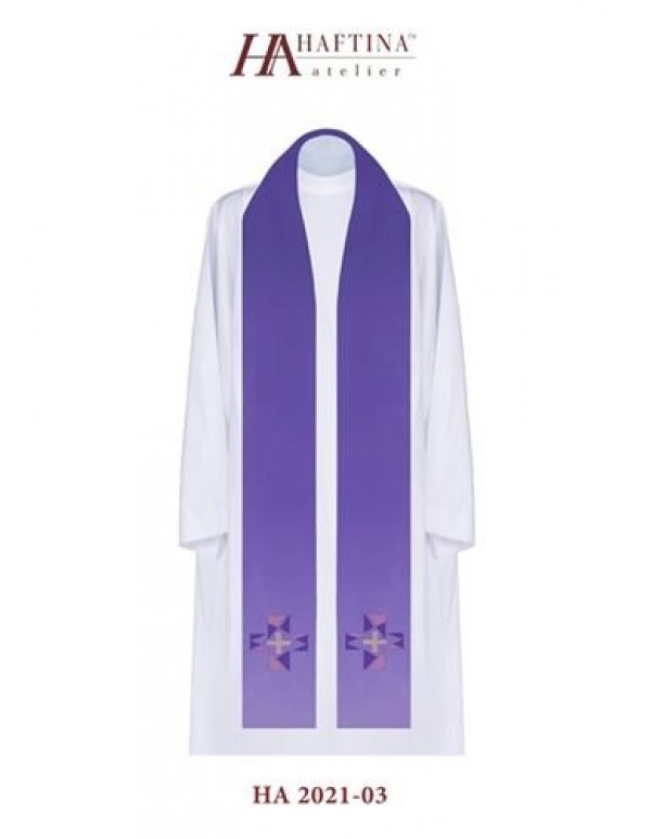 Blocked Cross with varying shades -  Stole in all Liturgical Colours