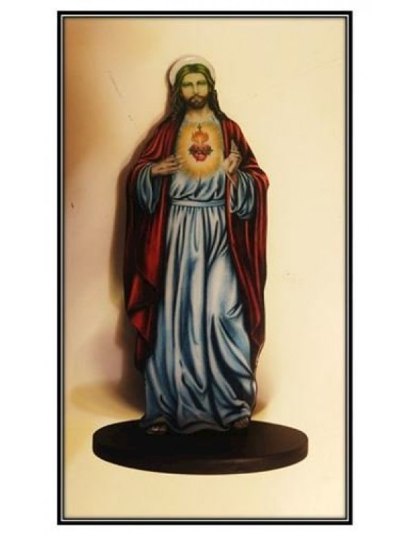 20cm Sacred Heart of Jesus - Domed Wooden Stand