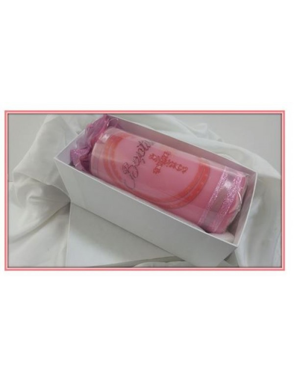 Baptism Candle Pink - 7cm wide x 18cm tall with White Gift Box