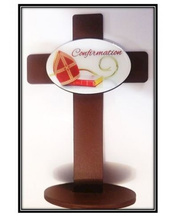 Confirmation Gift Standing Cross - Bible, Staff & Mitre
