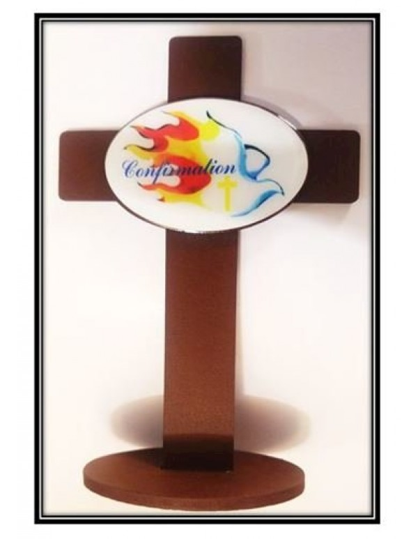 Confirmation Standing Gift Cross - Dove of Fire