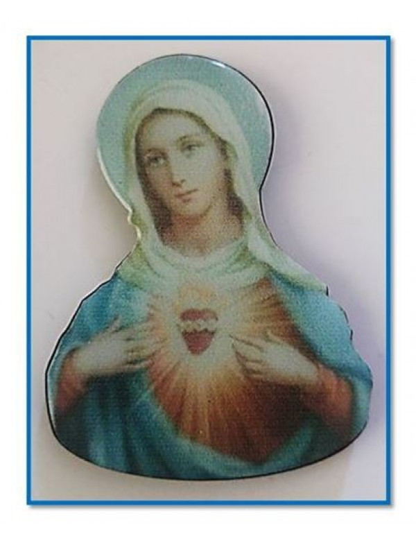 Our Lady of the Immaculate Heart domed wooden Magnet