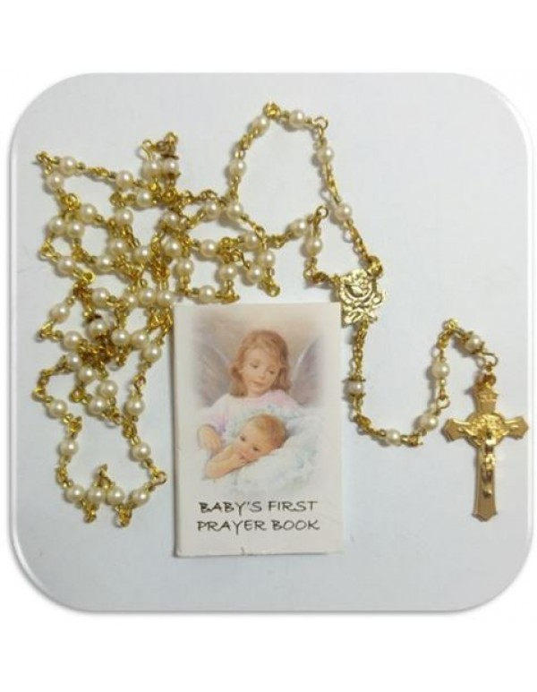 Golden faux glass white pearl Rosary with Baby's First Prayer book