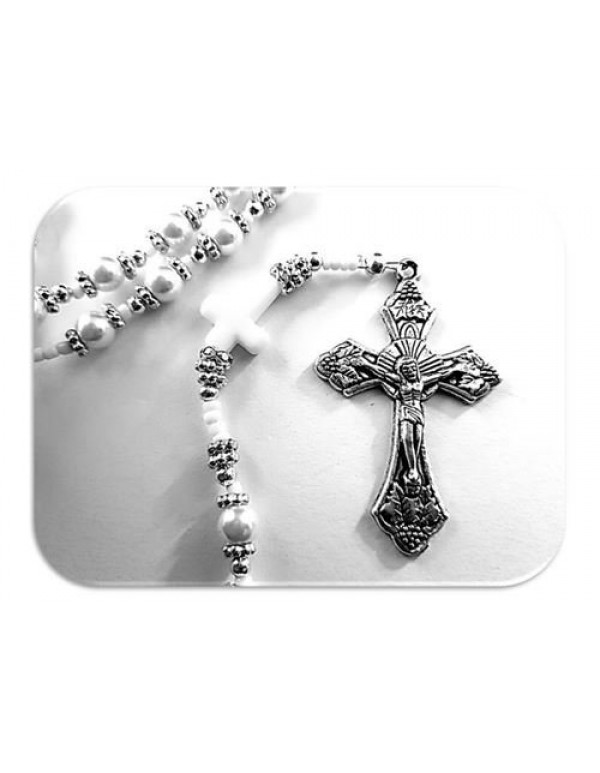 Baptism / Christening White Faux glass Pearl Rosry With White Crosses - Limited Edition