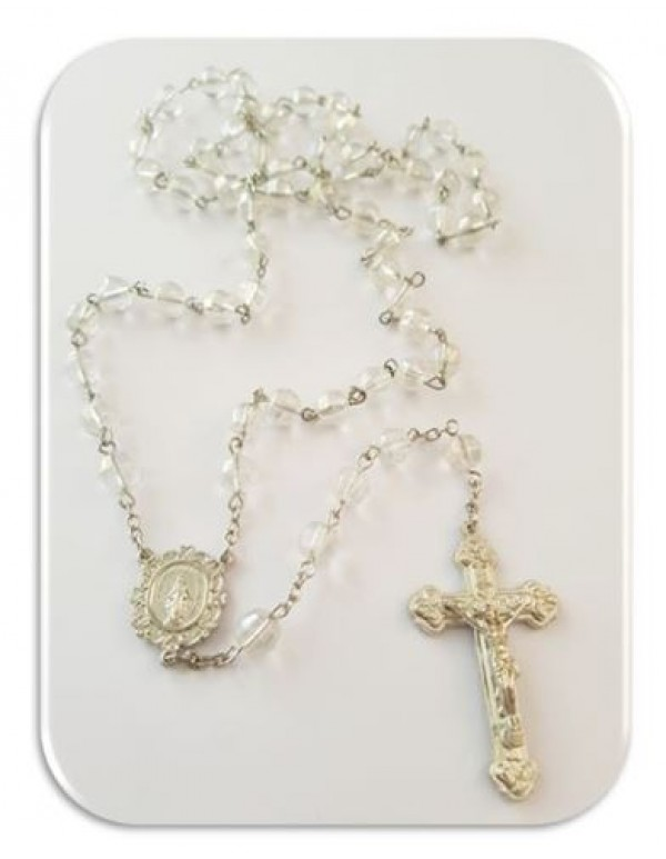 Crystal facetted 8mm glass rosary