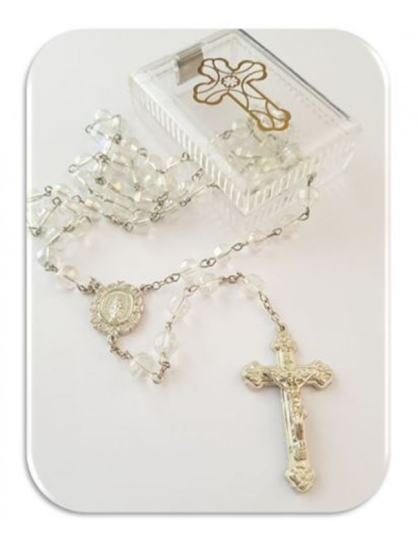Crystal 8mm facet glass rosary - with cross box