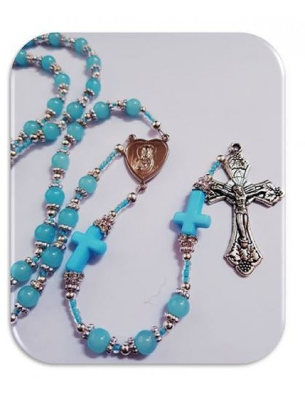 Baptism / Christening Blue  glass Rosary With blue Crosses - Limited Edition