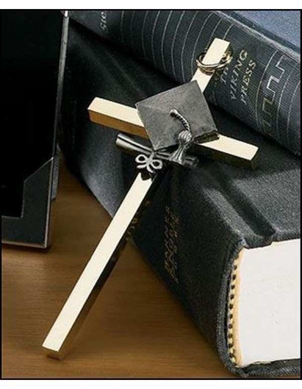 10cm Graduation Cross - Pewter and Brass