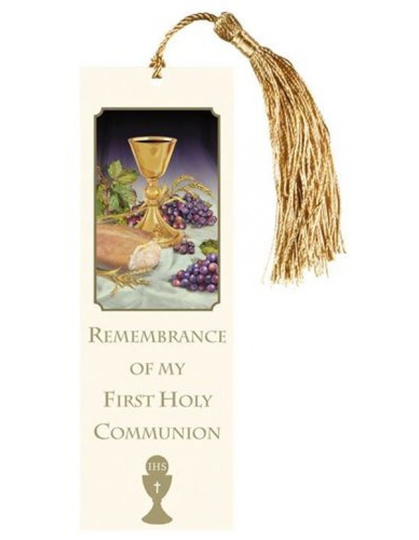 Remembrance of my First Holy Communion Bookmark with golden tassel