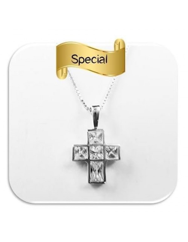 Sterling Silver 15mm Mini Square Cross with Cubic zircon crystals & 50cm box chain