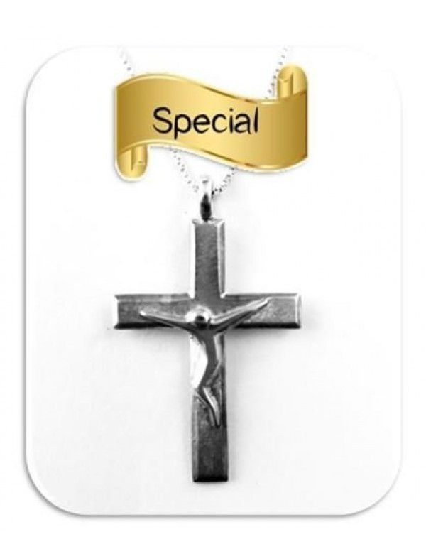 Sterling Silver 3cm Square Modern Crucifix with 45cm Sterling Silver Box Chain