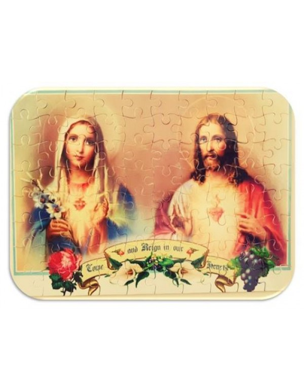 80 piece Puzzle - Immaculate heart of Mary & Sacred Heart of Jesus