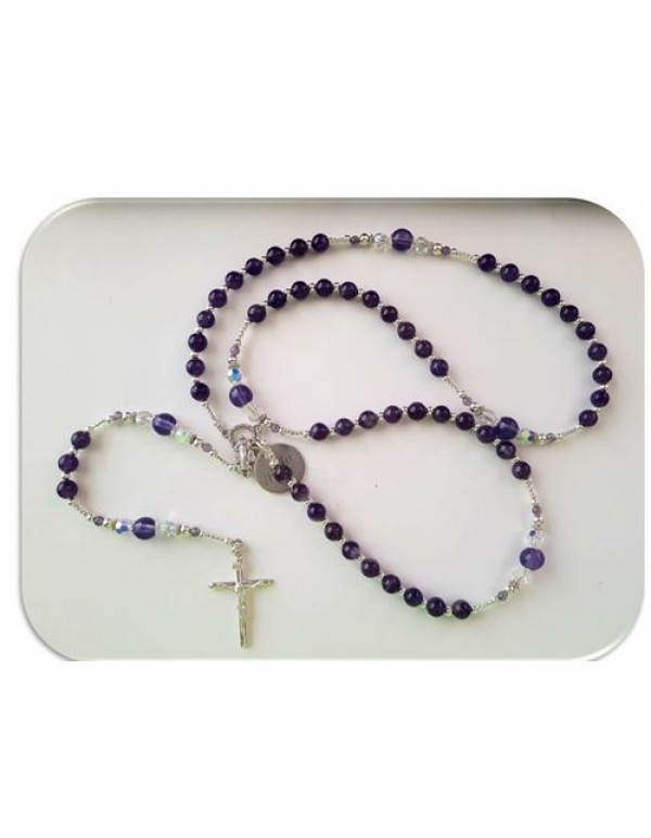 Sterling Silver & Semi Precious Stone (Amethyst) threaded Rosary