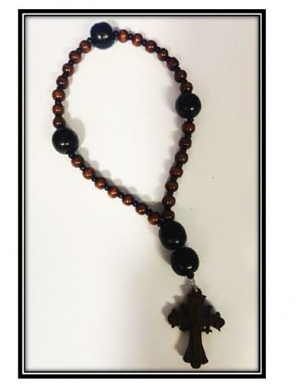 Anglican Rosary - Wooden - Golden Brown with Black