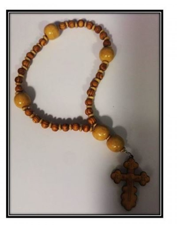 Anglican Rosary - Wooden - Olive wood and Cream Beads