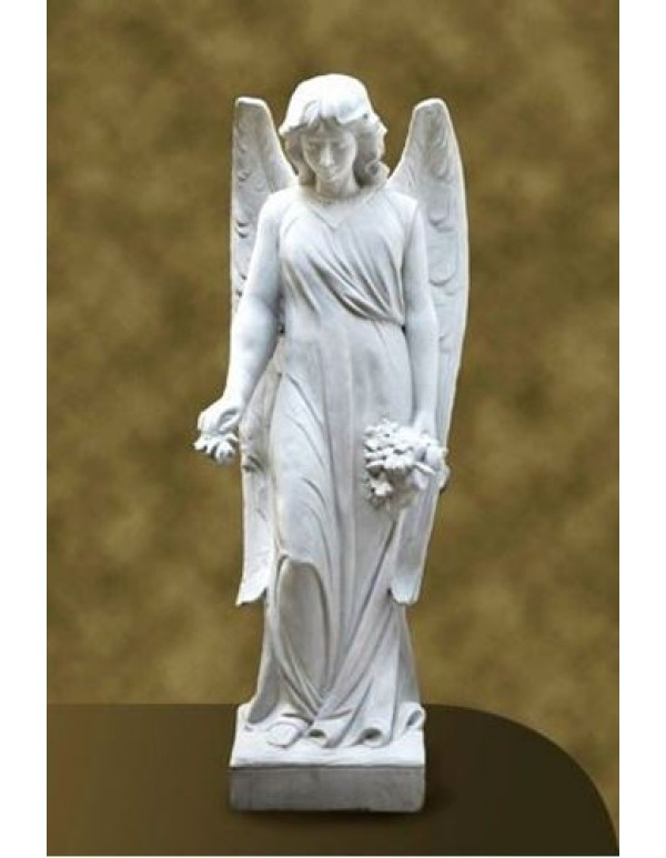 1060cm Long winged Angel with flowers - Marble