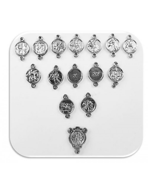 Stations of the Cross round Medal set - set of 15