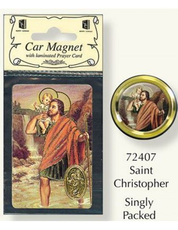 4cm diameter St Christopher colour Magnet/Plaque & Holy Card
