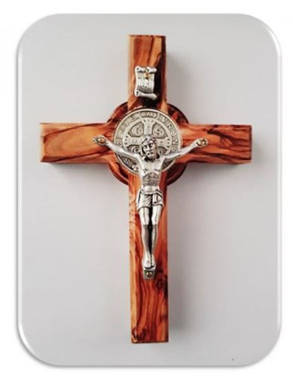 10cm Olive Wood St Benedict Crucifix from Holy Land