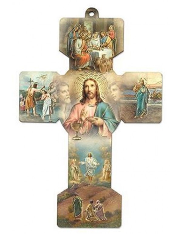 13.5cm Italian Mysteries of Light Wooden Cross