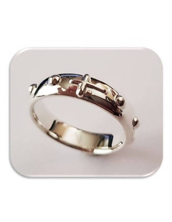 Rosary Ring - One decade with Cross - Mens - Sterling Silver