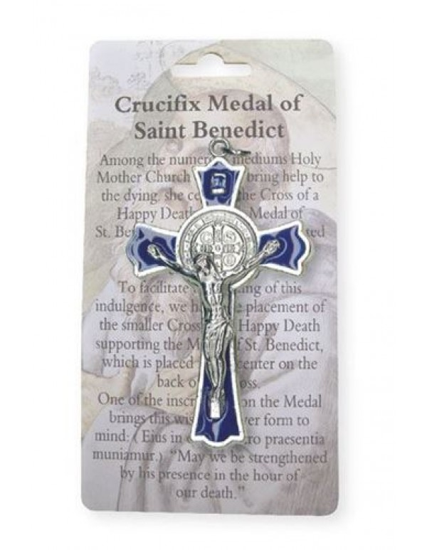 7.5cm St Benedict Crucifix - Ornate edging - Blue enamel inlay with Information card