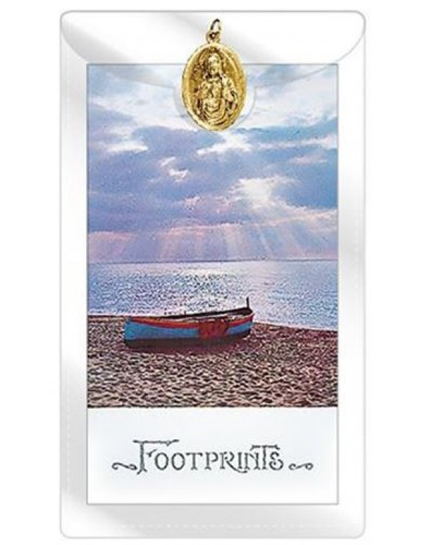 Footprints prayer Card with Sacred Heart of Jesus Medal