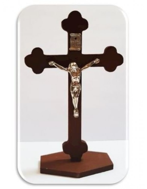 13.5cm Standing Wooden Crucifix with Metal Corpus